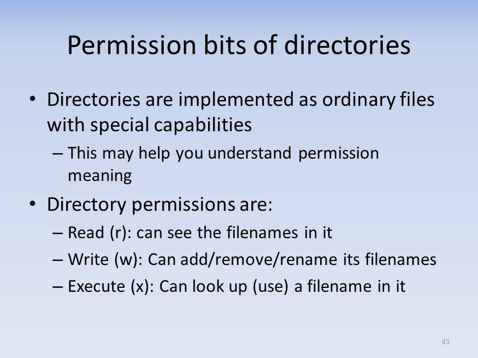 Permission bits of directories
