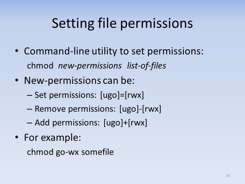 Setting file permissions