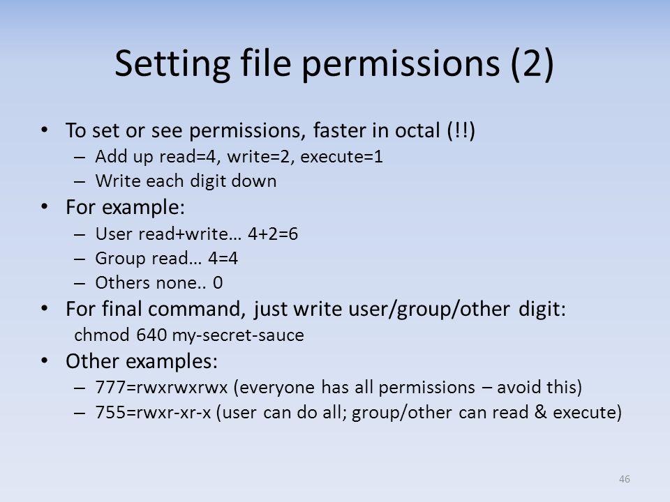 Setting file permissions (2)