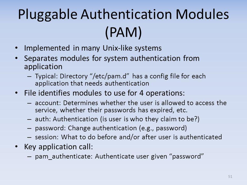 Pluggable Authentication Modules (PAM)
