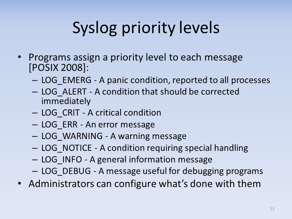 Syslog priority levels