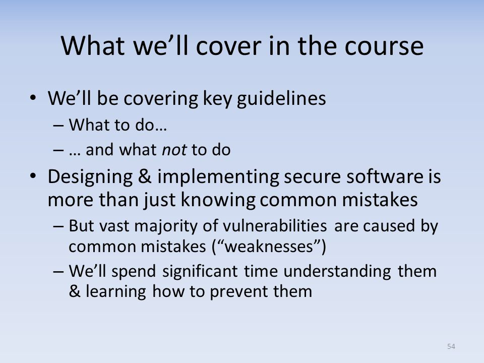 What we'll cover in the course