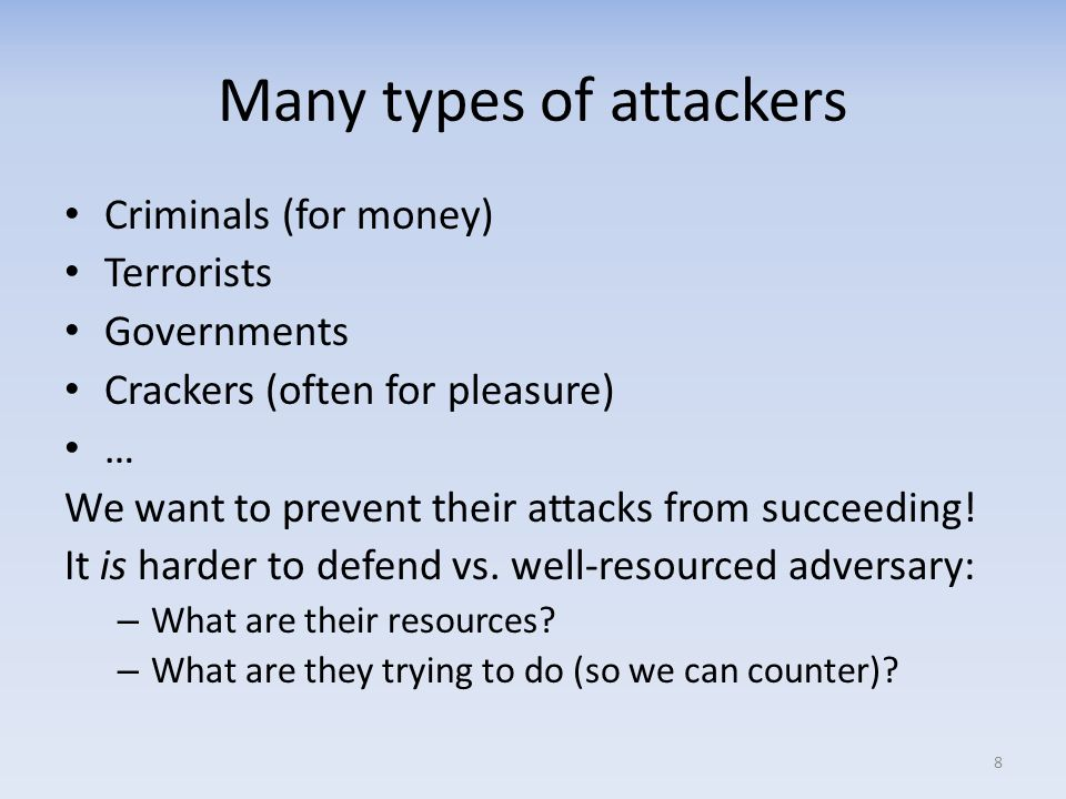 Many types of attackers