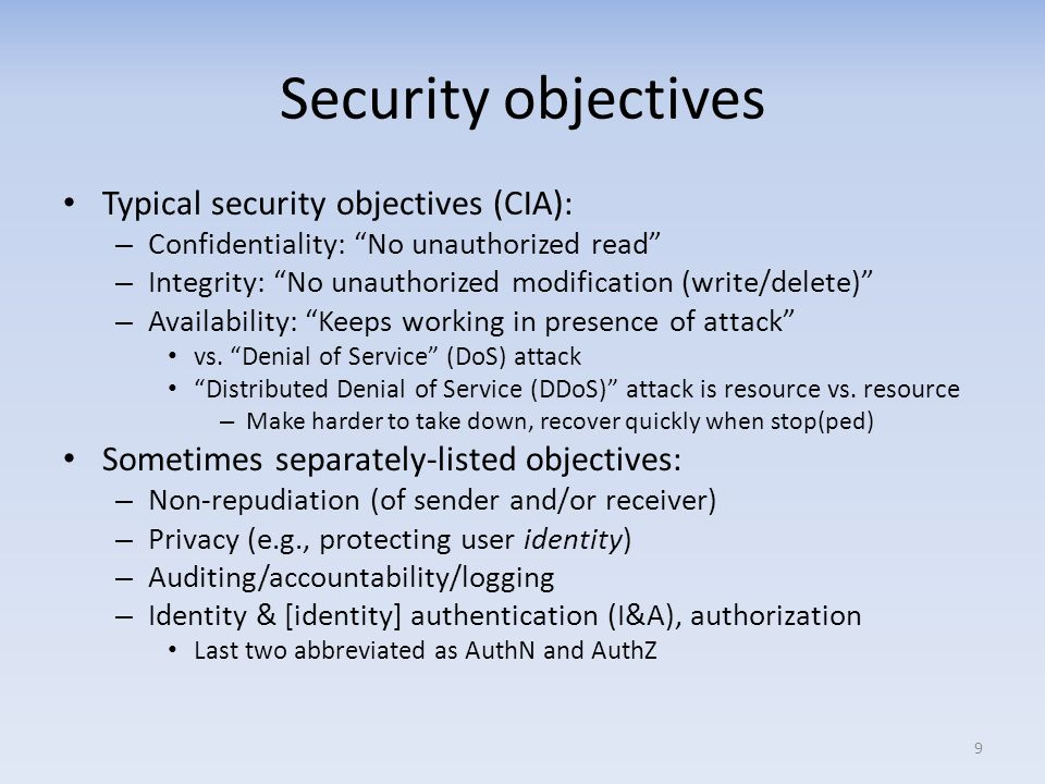 Security objectives Typical security objectives (CIA):