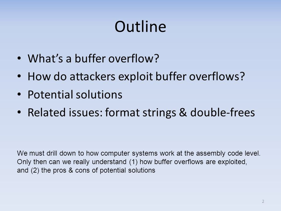 Outline What's a buffer overflow