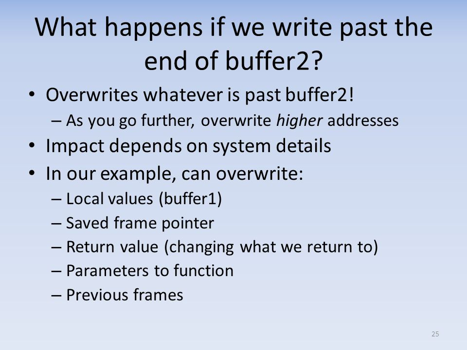 What happens if we write past the end of buffer2