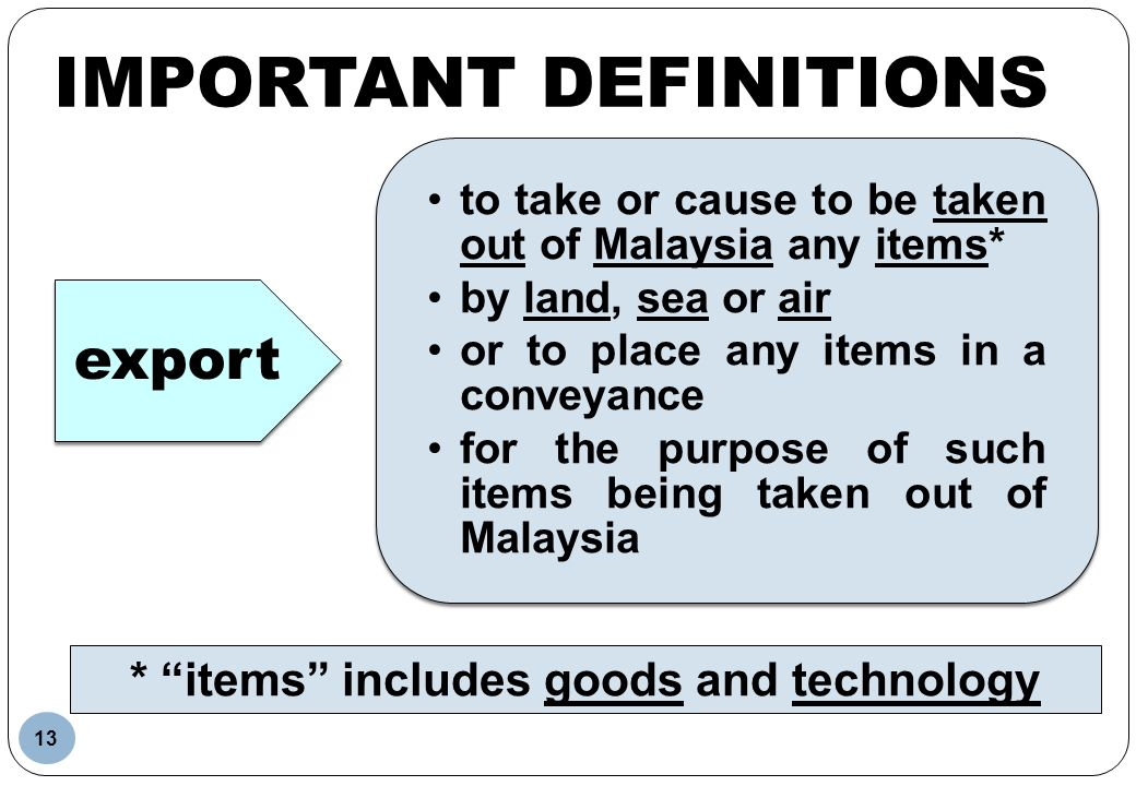 Important Definitions * items includes goods and technology