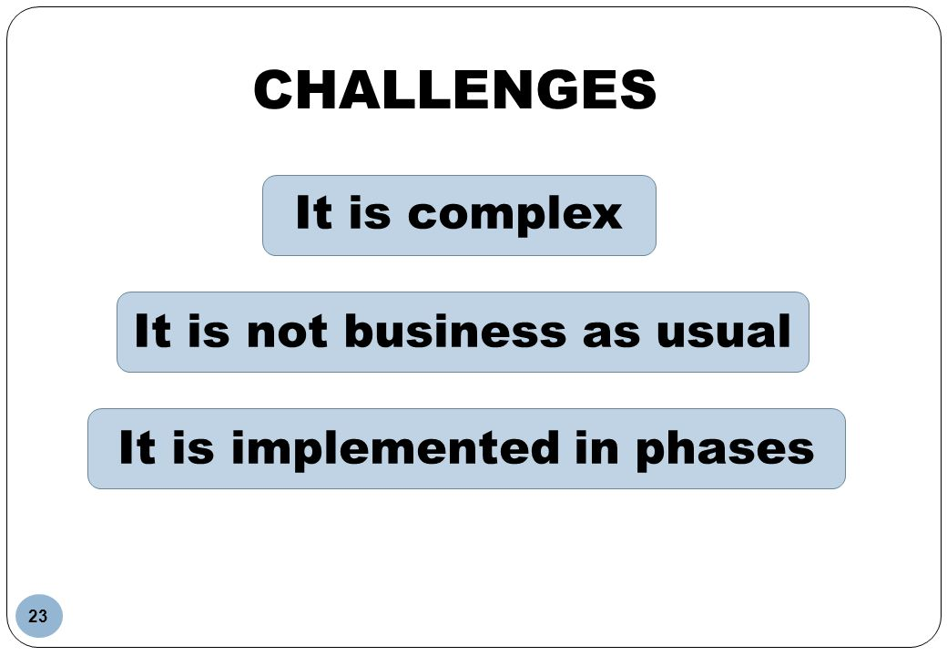 It is not business as usual It is implemented in phases