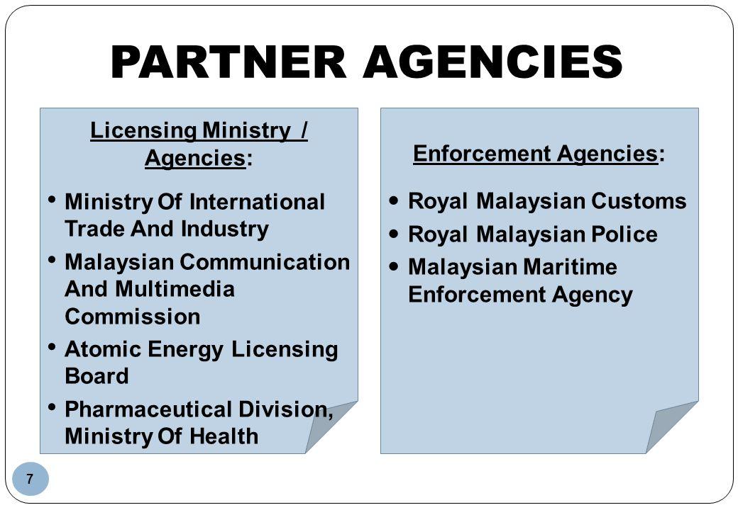 Licensing Ministry / Agencies: Enforcement Agencies: