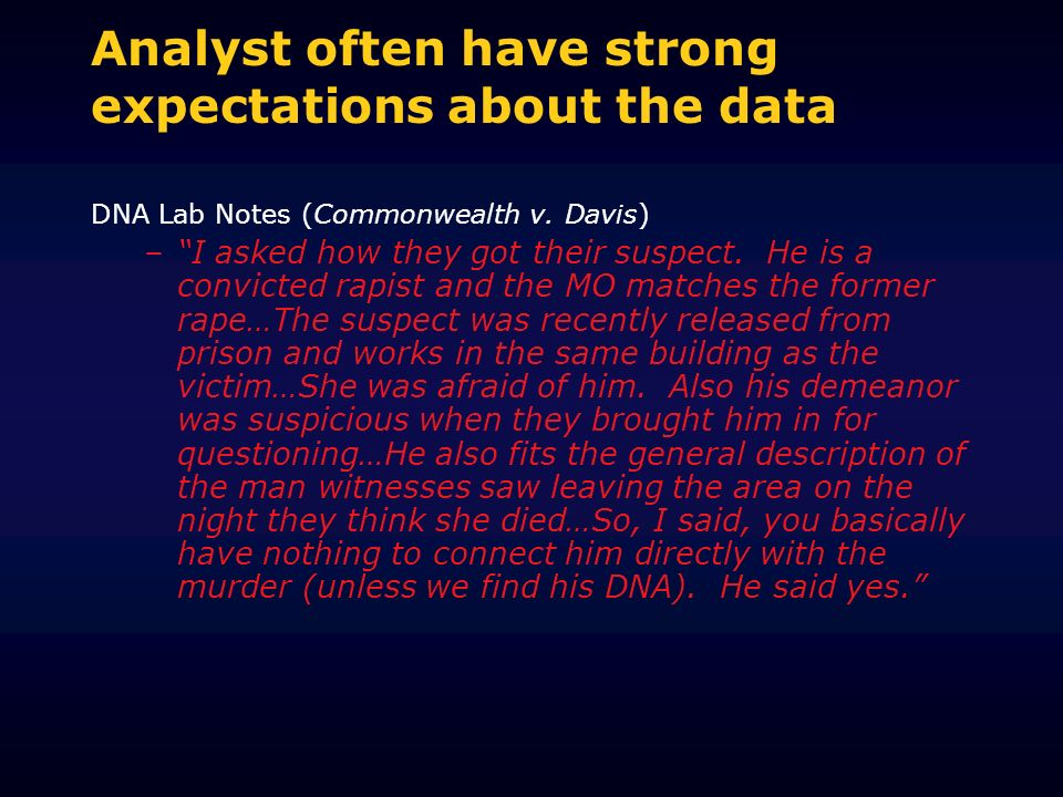 Analyst often have strong expectations about the data