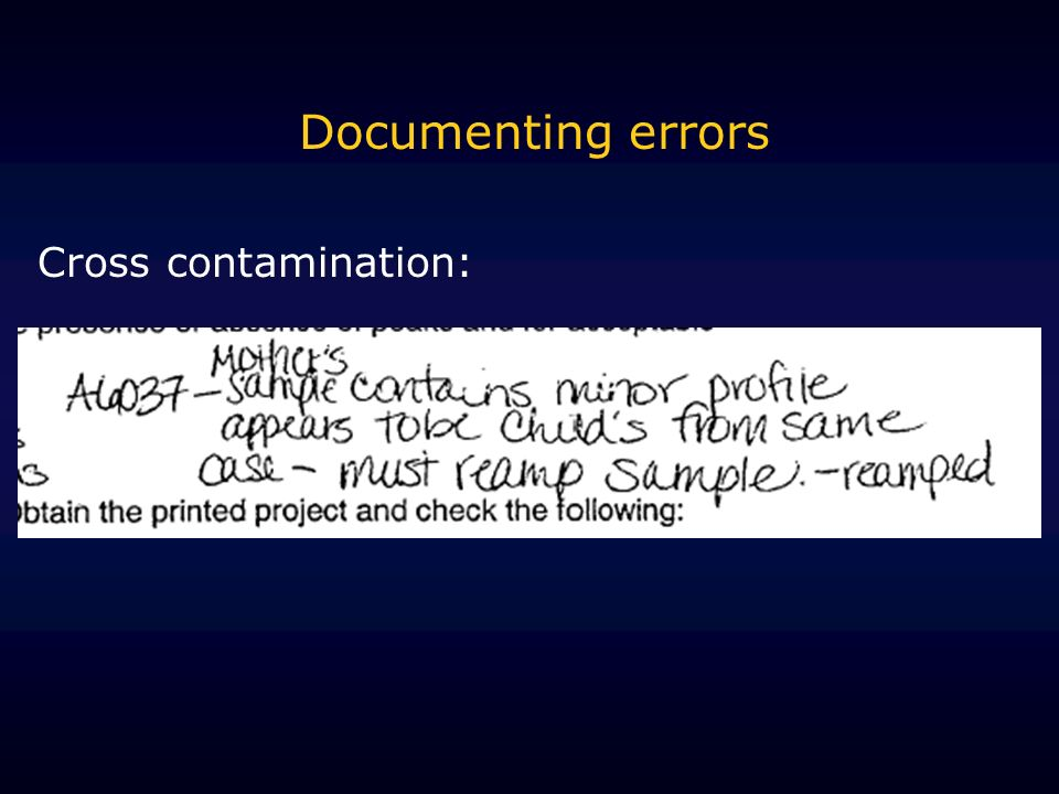 Documenting errors Cross contamination: