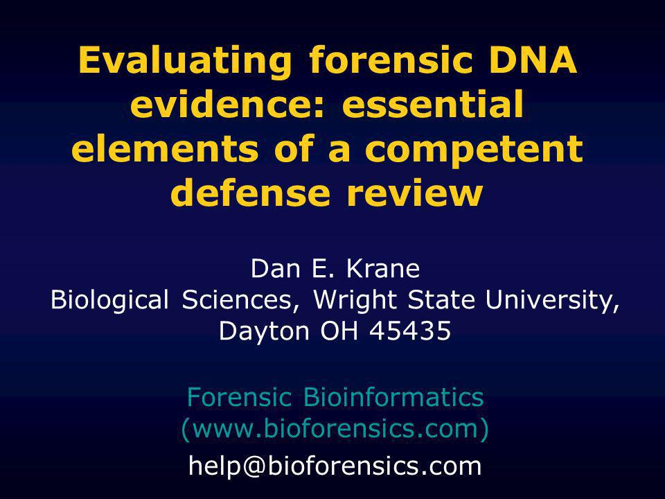 Forensic Bioinformatics (www.bioforensics.com) help@bioforensics.com