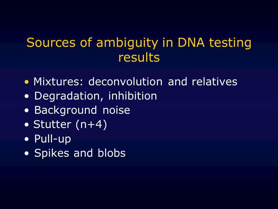 Sources of ambiguity in DNA testing results