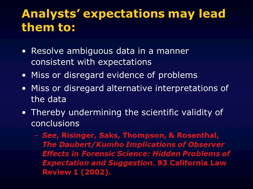Analysts' expectations may lead them to:
