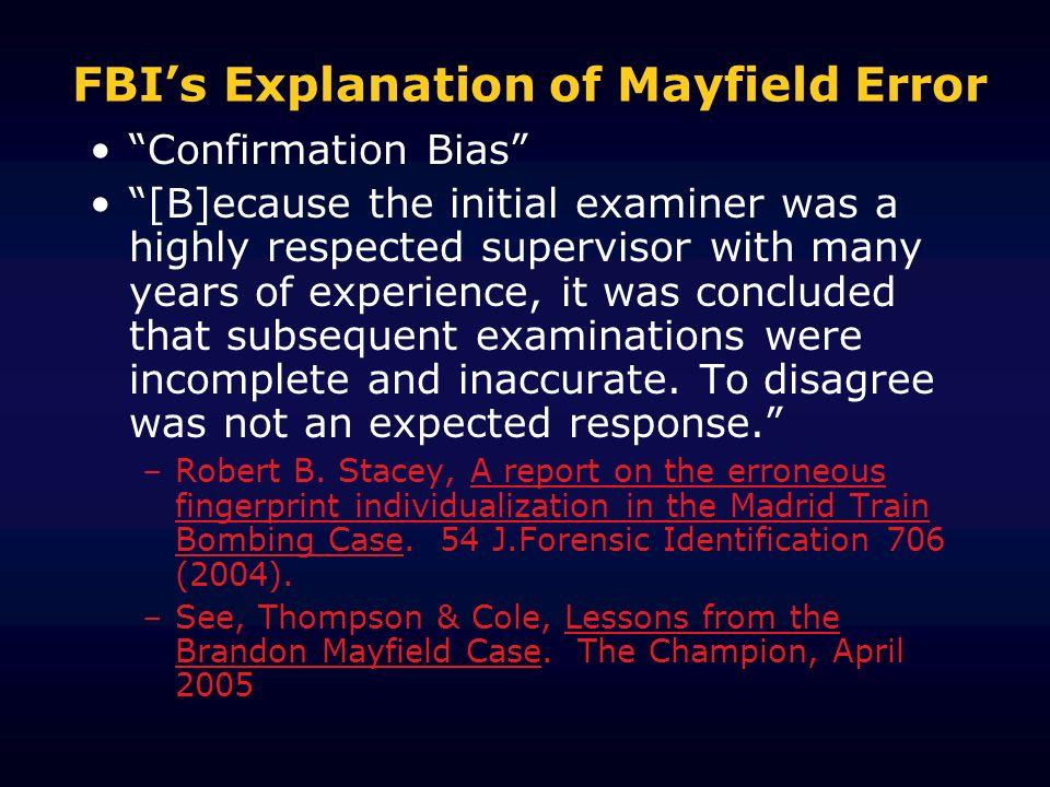 FBI's Explanation of Mayfield Error