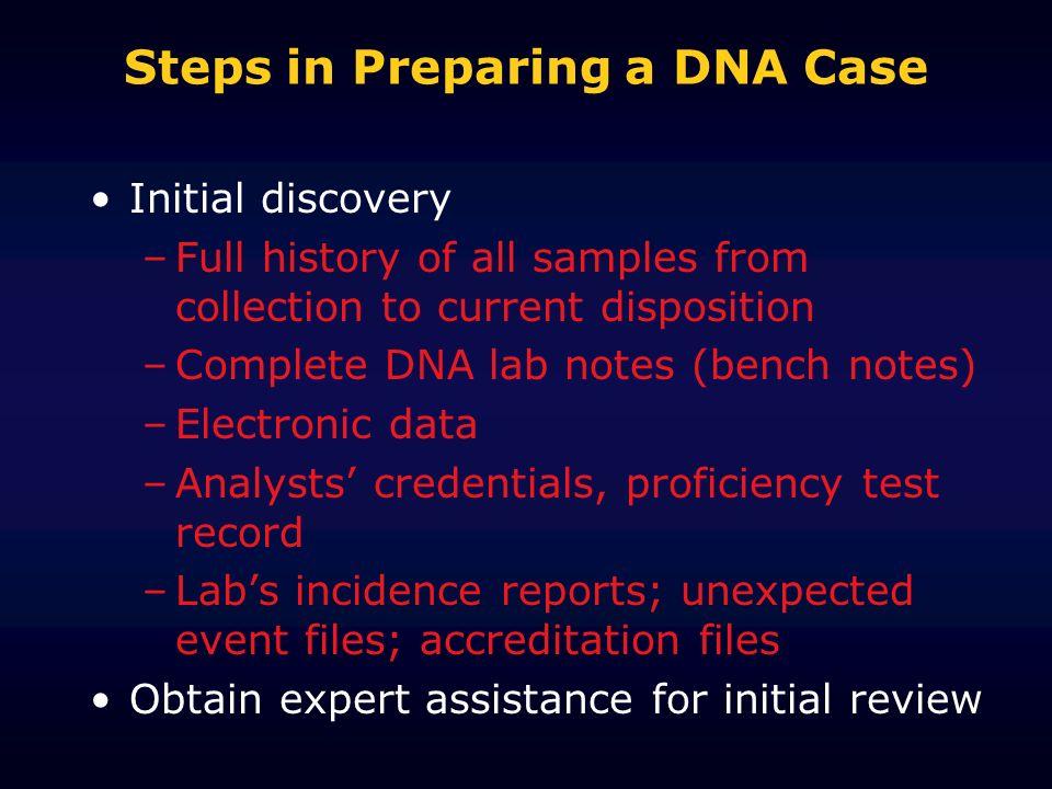 Steps in Preparing a DNA Case