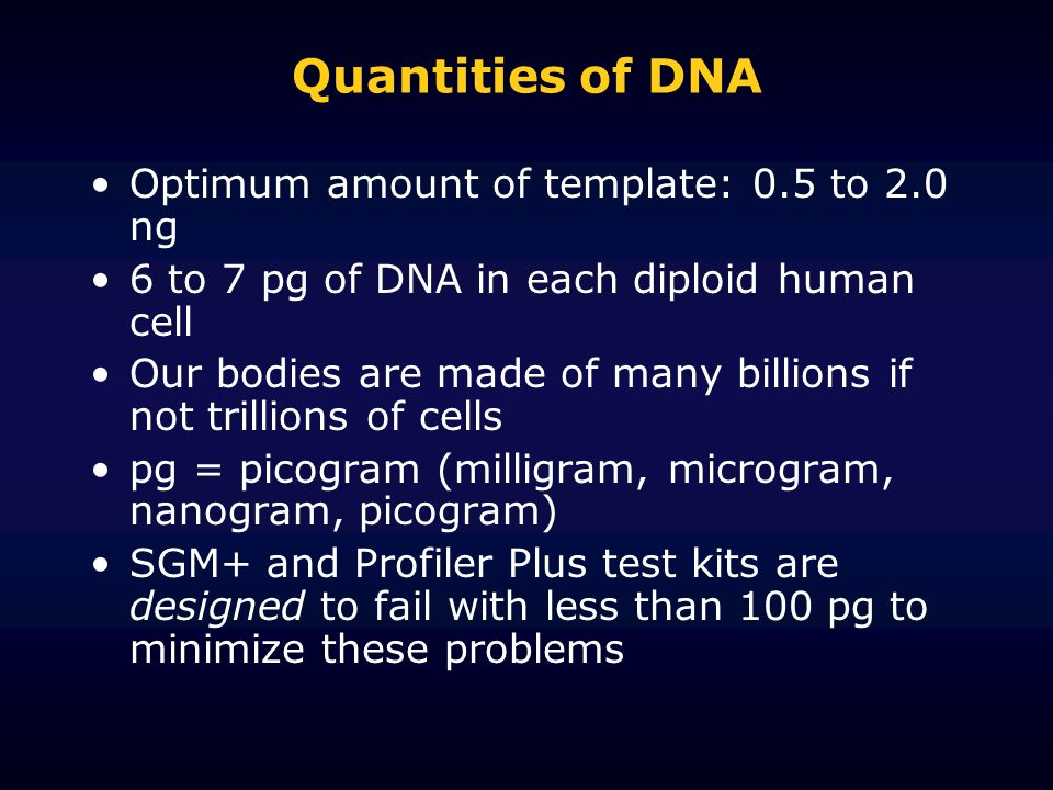 Quantities of DNA Optimum amount of template: 0.5 to 2.0 ng
