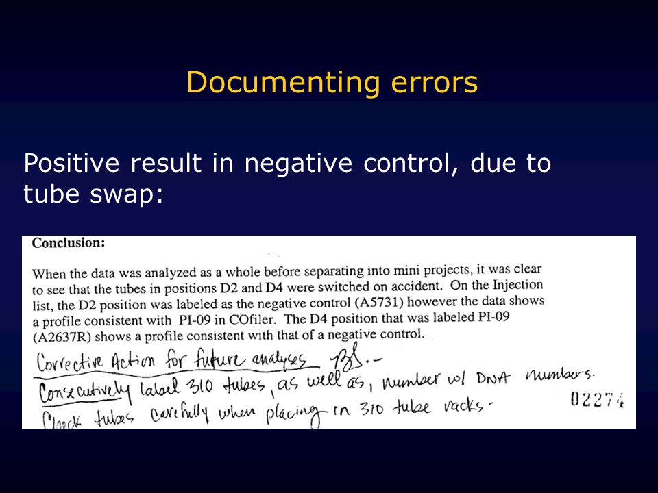 Documenting errors Positive result in negative control, due to tube swap: