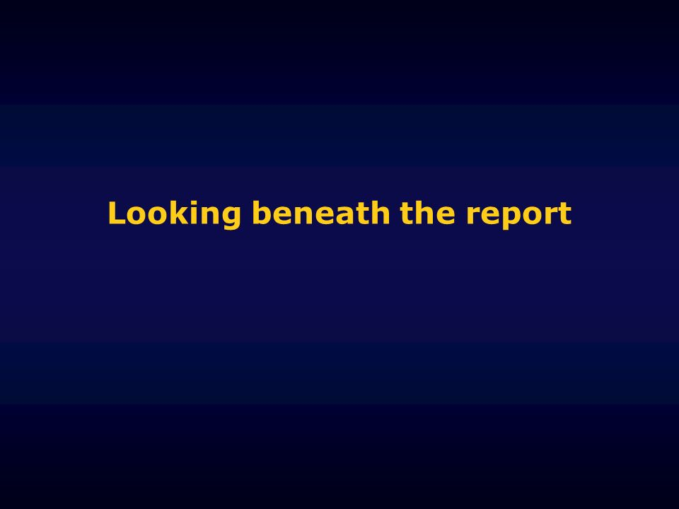 Looking beneath the report