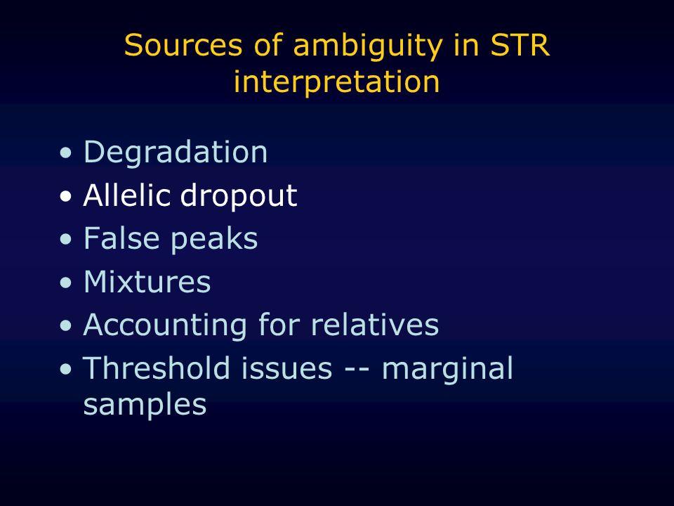 Sources of ambiguity in STR interpretation