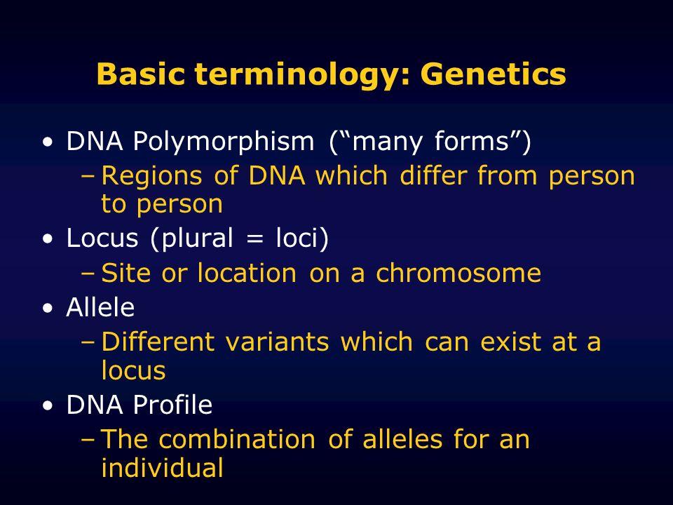 Basic terminology: Genetics