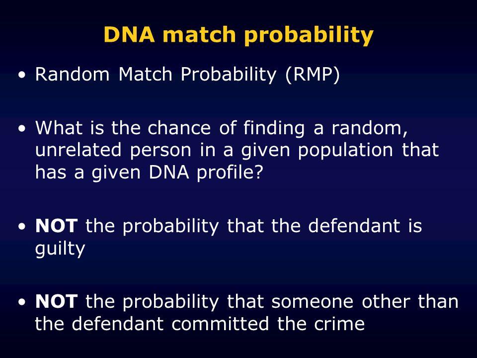 DNA match probability Random Match Probability (RMP)