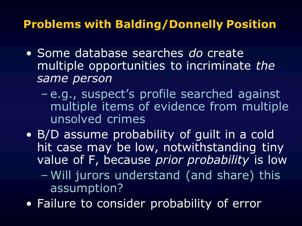Problems with Balding/Donnelly Position