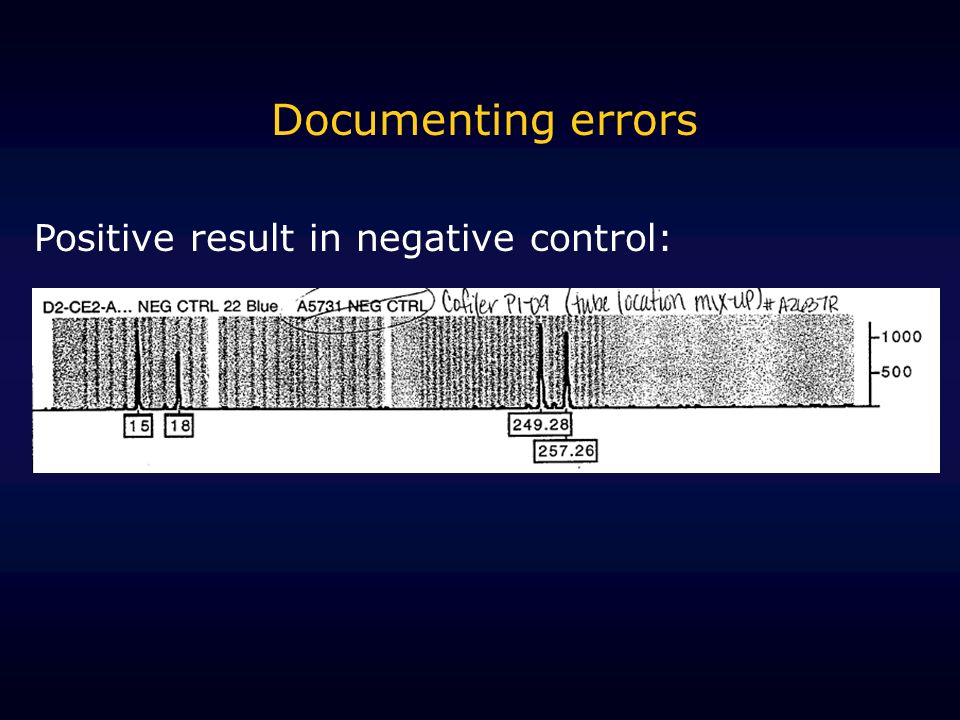 Documenting errors Positive result in negative control: