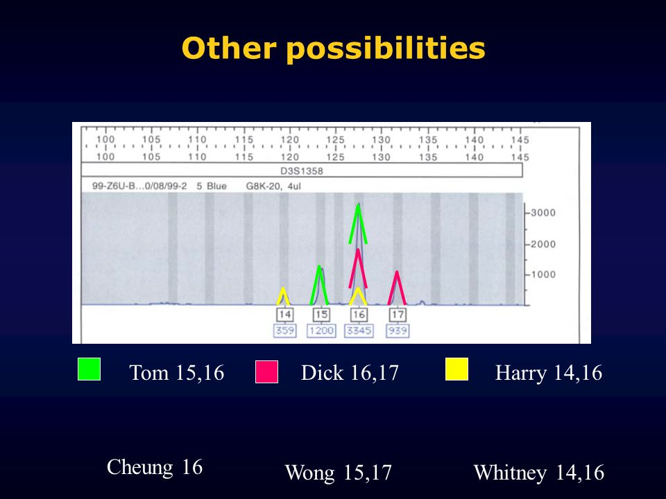 Other possibilities Tom 15,16 Dick 16,17 Harry 14,16 Cheung 16