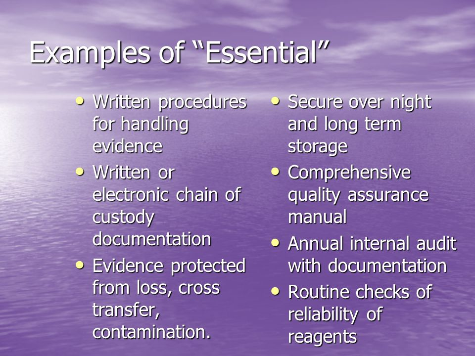 Examples of Essential