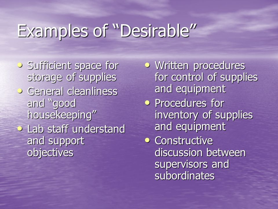 Examples of Desirable