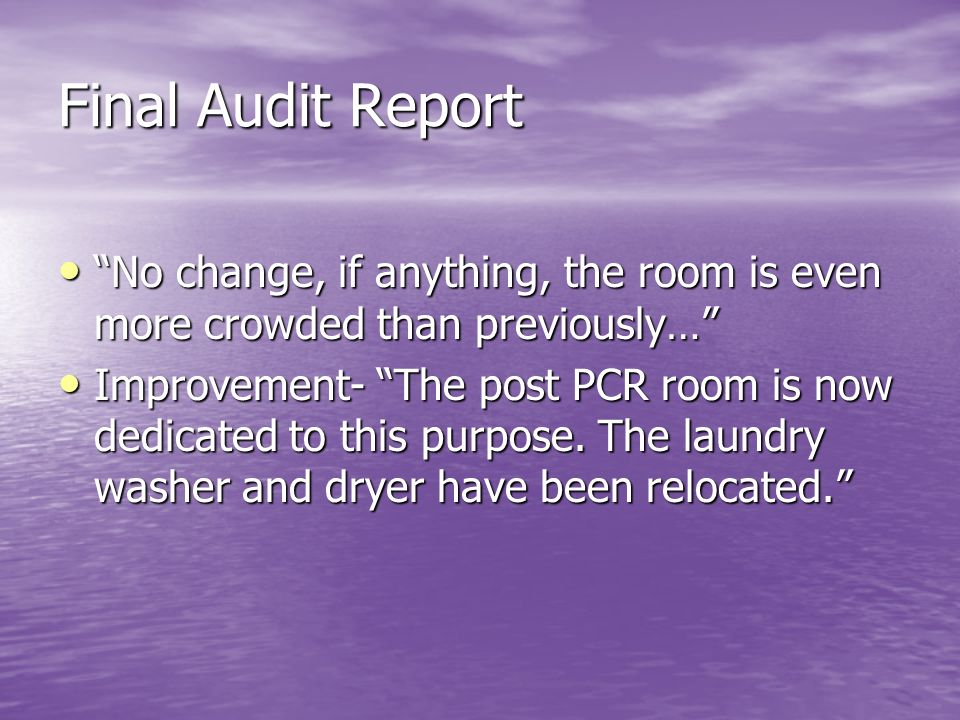 Final Audit Report No change, if anything, the room is even more crowded than previously…