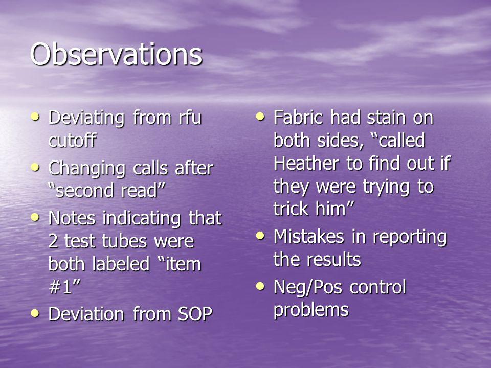 Observations Deviating from rfu cutoff