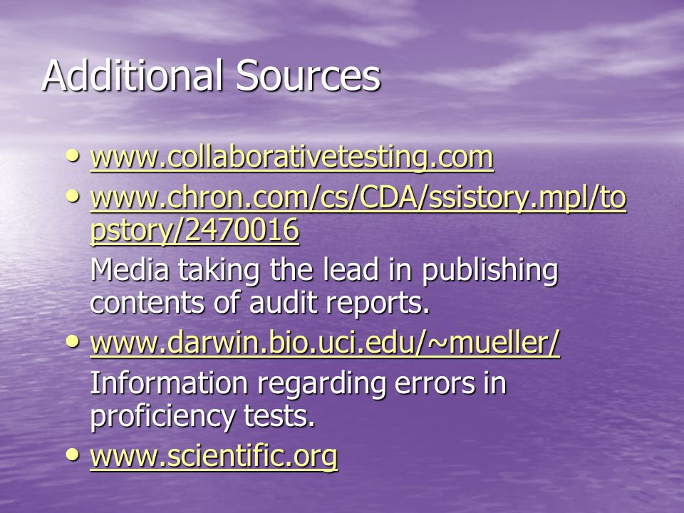 Additional Sources www.collaborativetesting.com