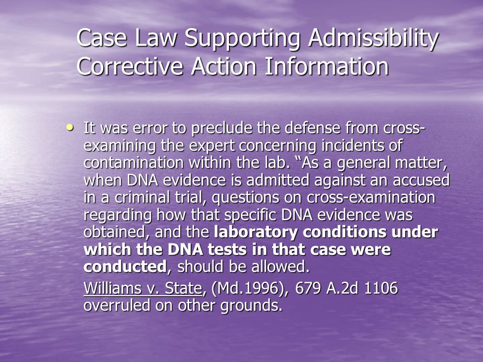 Case Law Supporting Admissibility Corrective Action Information