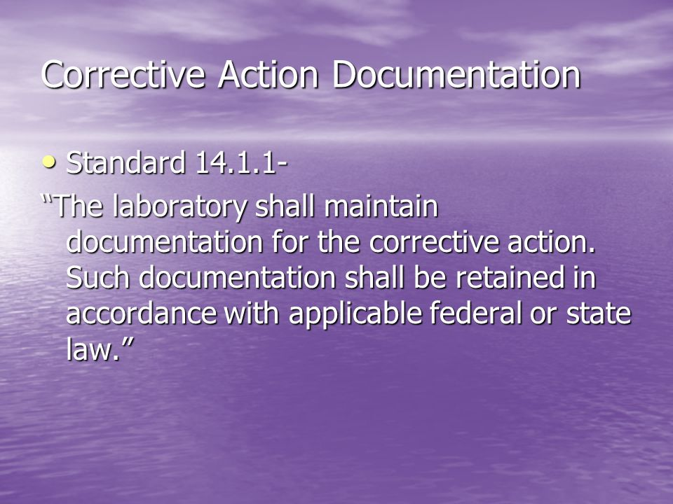 Corrective Action Documentation