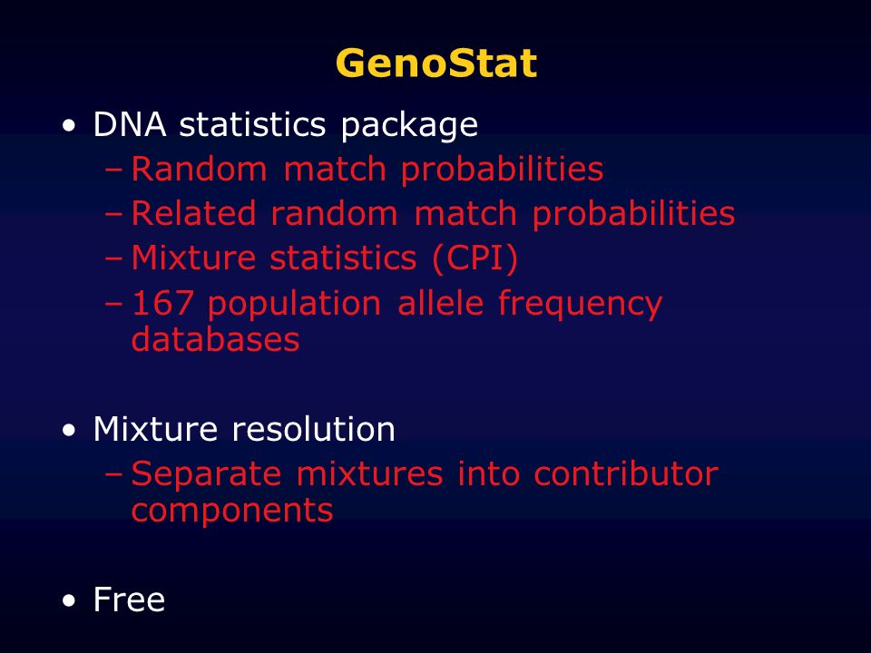 GenoStat DNA statistics package Random match probabilities