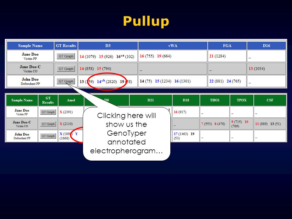 Clicking here will show us the GenoTyper annotated electropherogram…