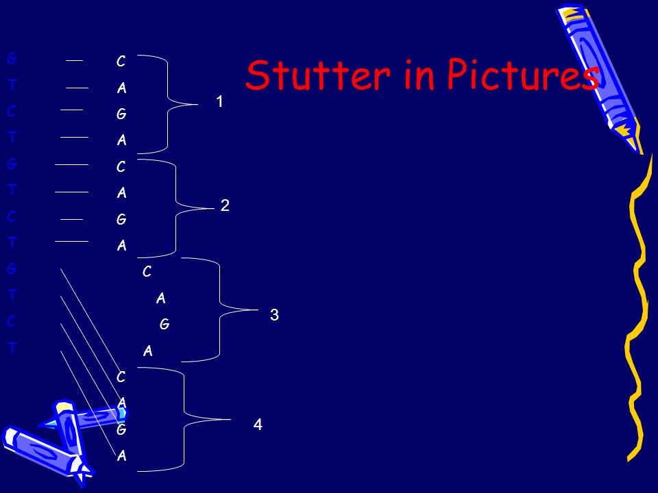Stutter in Pictures G T C C A G 1 2 3 4