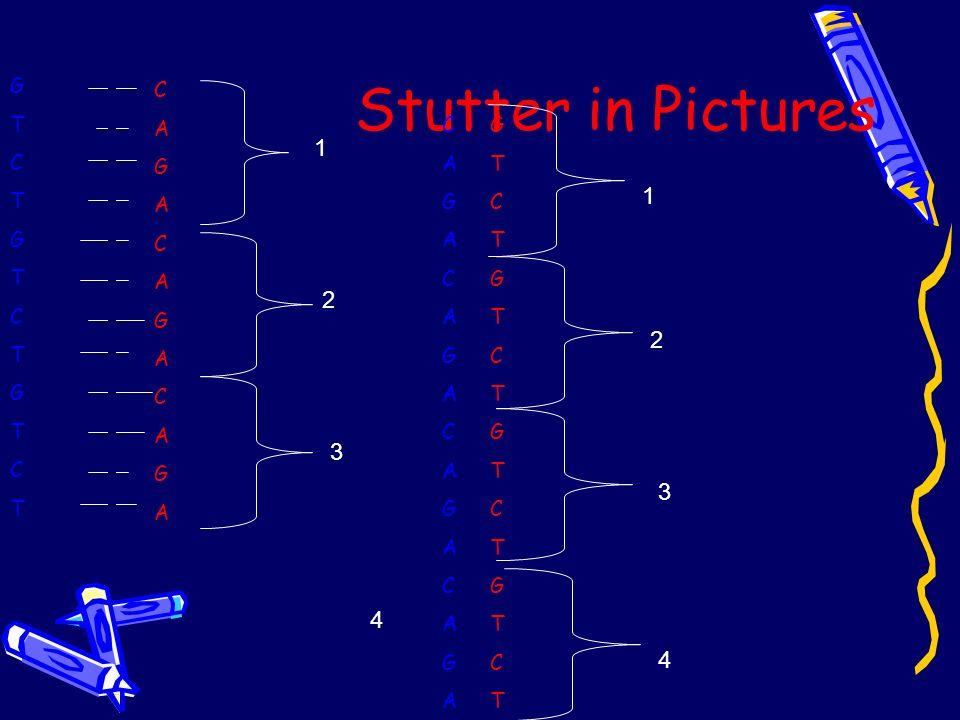 Stutter in Pictures G T C C A G C A G G T C 1 1 2 2 3 3 4 4