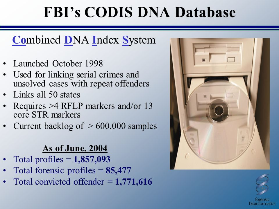 dna databases codis The combined dna index system (codis) allows labs to exchange and compare dna profiles to link serial violent crimes to each other and to known offenders.