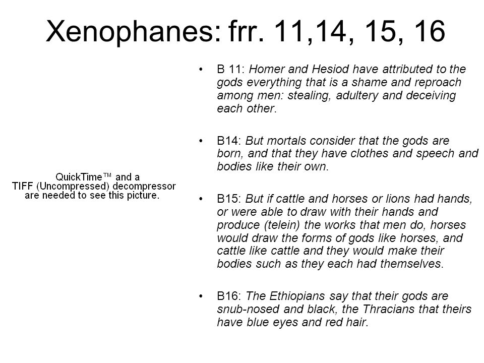 Xenophanes: frr. 11,14, 15, 16