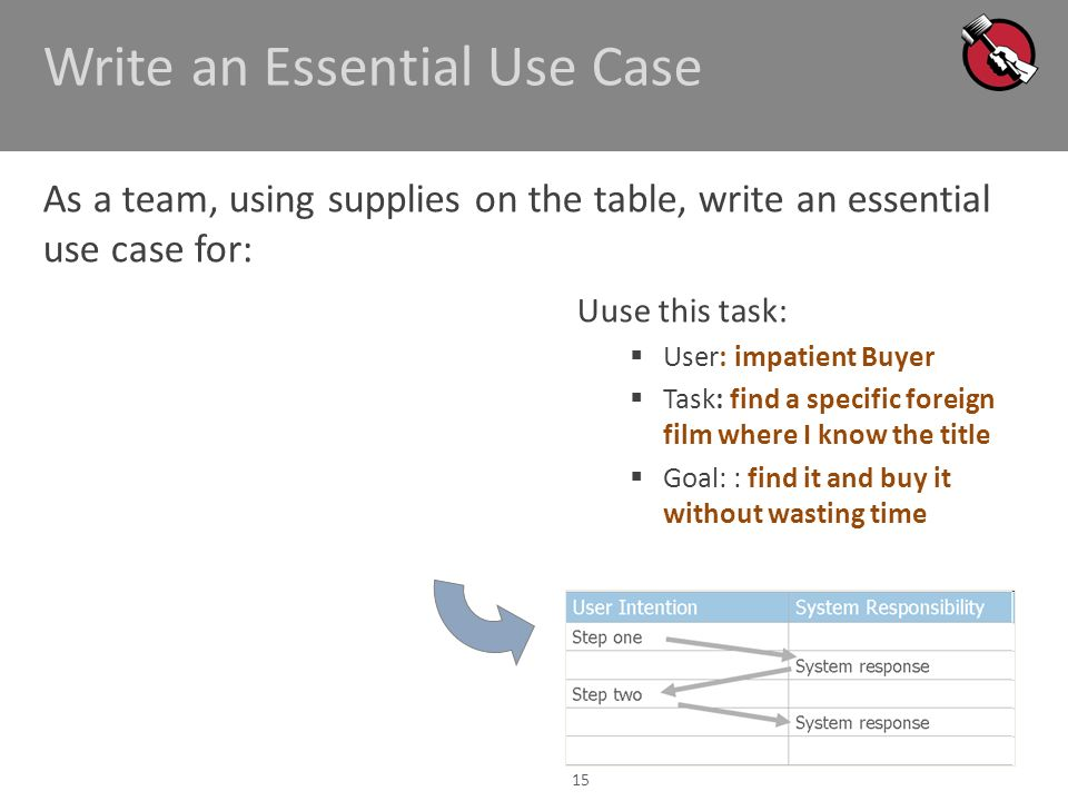 Write an Essential Use Case