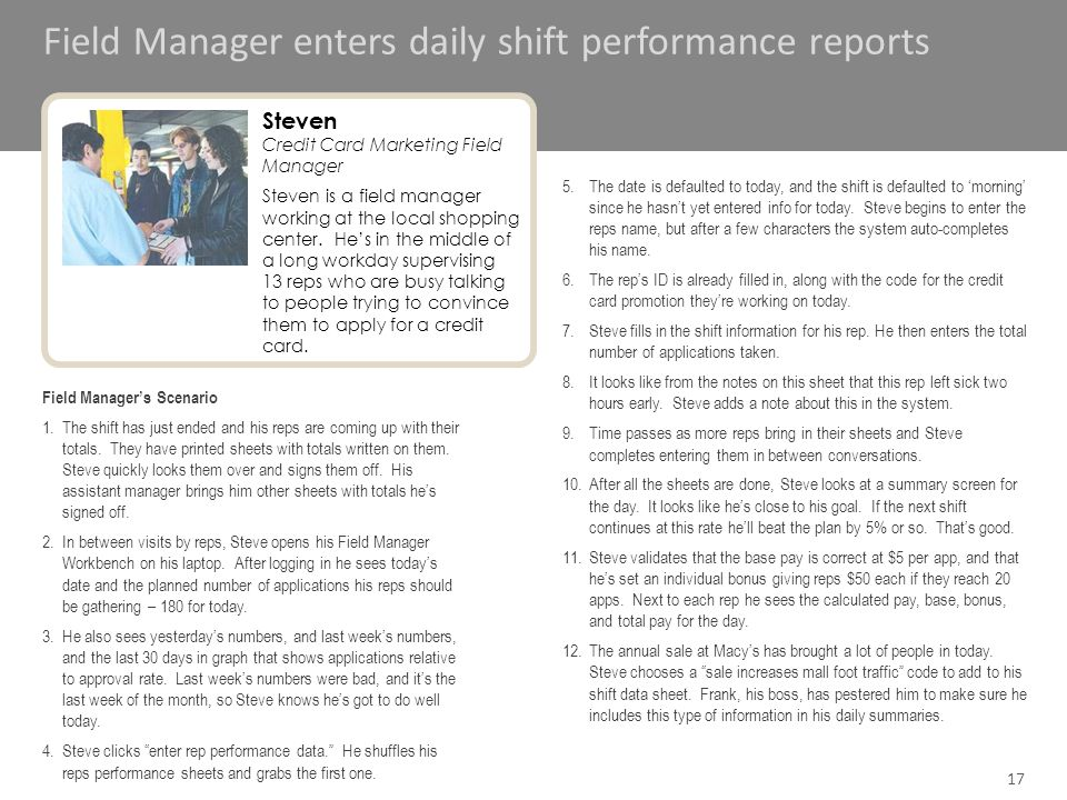 Field Manager enters daily shift performance reports