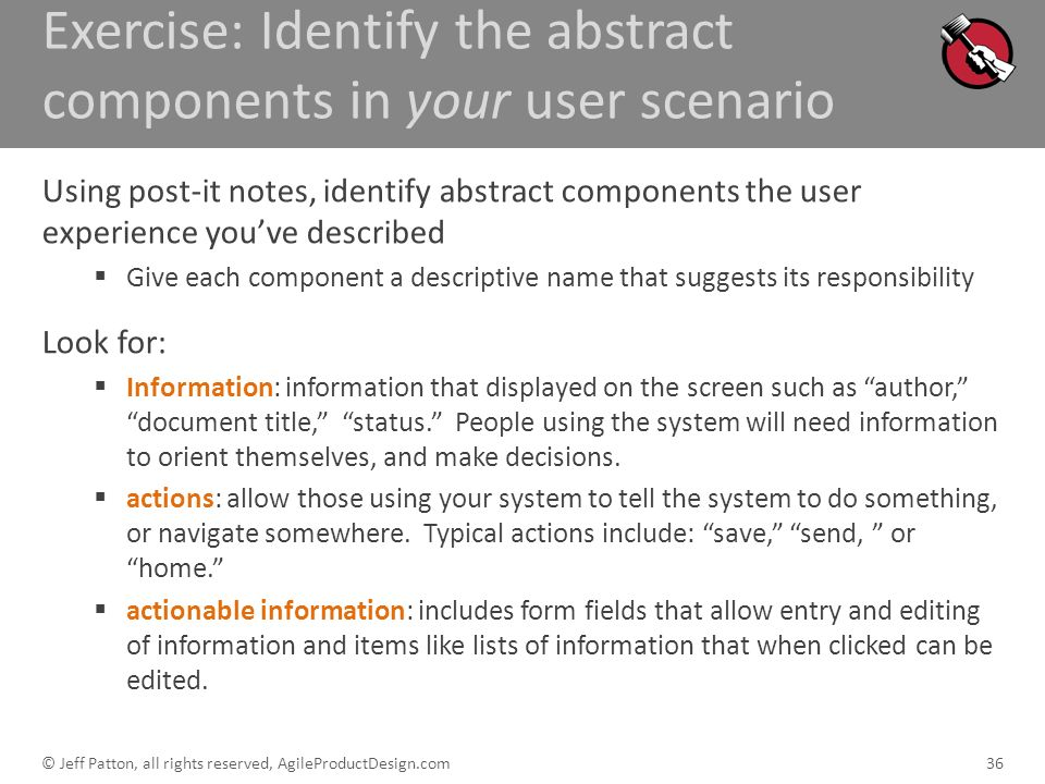 Exercise: Identify the abstract components in your user scenario