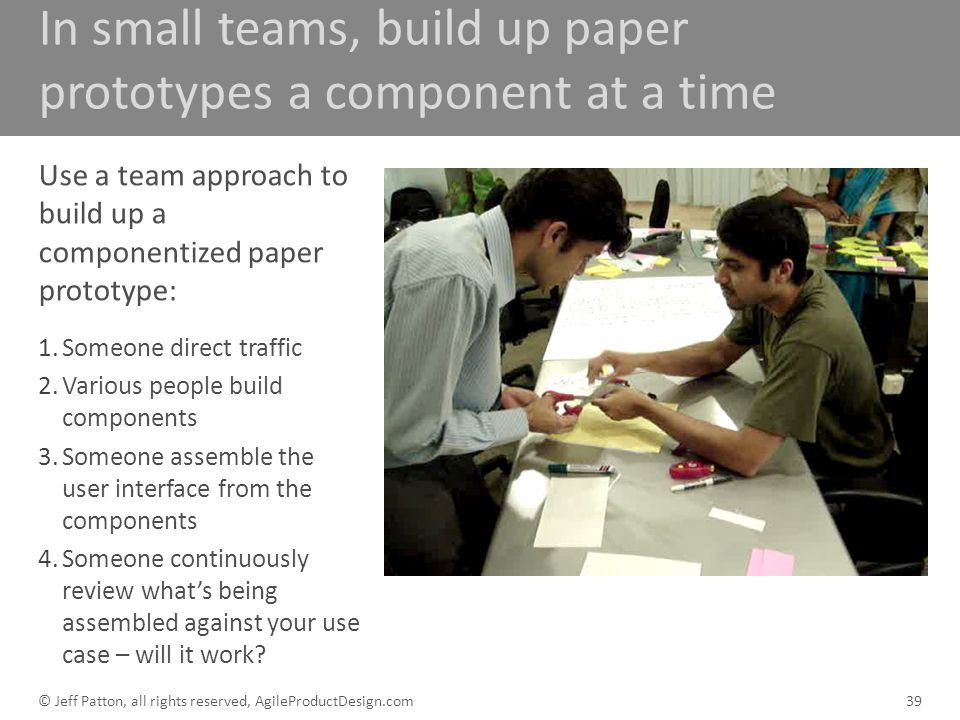 In small teams, build up paper prototypes a component at a time