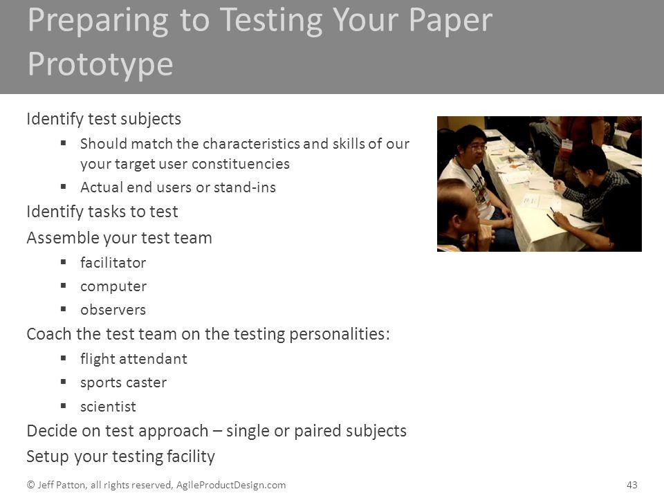 Preparing to Testing Your Paper Prototype