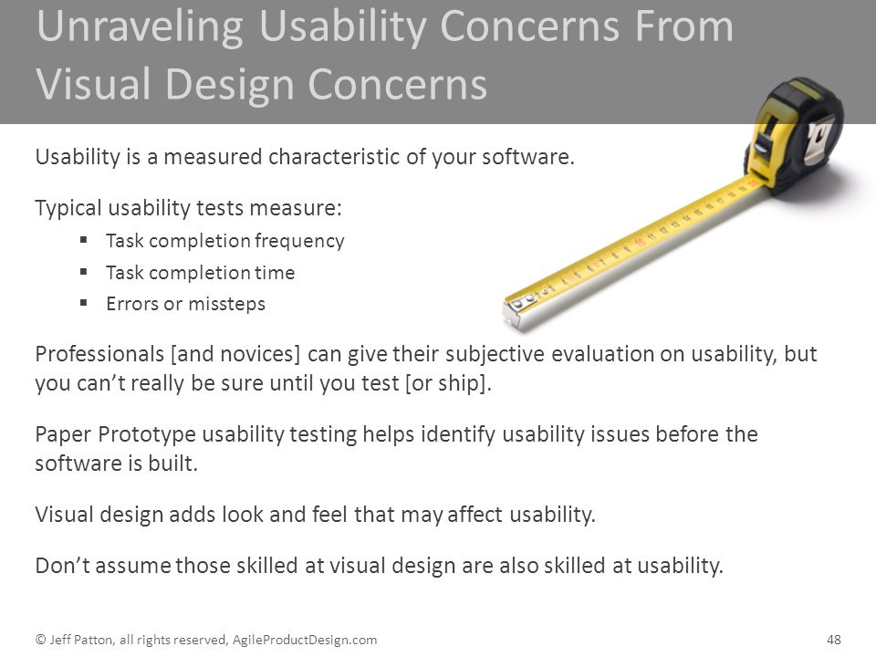Unraveling Usability Concerns From Visual Design Concerns