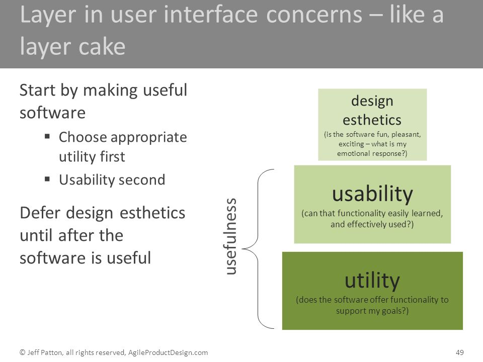 Layer in user interface concerns – like a layer cake