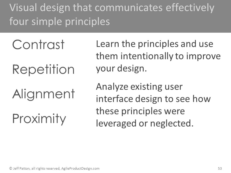 Visual design that communicates effectively four simple principles